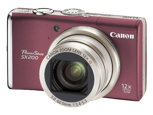 Canon PowerShot SX200 Digital Camera  - Red (12.1 MP, 12x Optical Zoom) 3.0 inch LCD