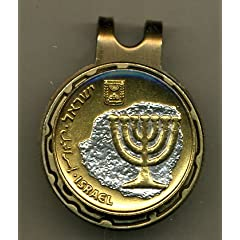 Gorgeous 2-Toned Gold on Silver Israeli nickel size Menorah, Coin - Golf Ball Marker... by J&J Coin Jewelry