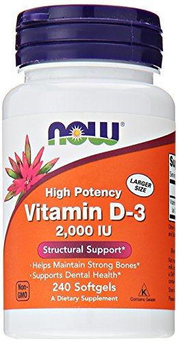 NOW Foods Vitamin D-3, Structural Support 2000 I.U., 240 Softgels (Vitamin D 3000 compare prices)