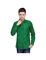 Inborn Green & Blue Green Checked Full Sleeve Casual Shirt For Men