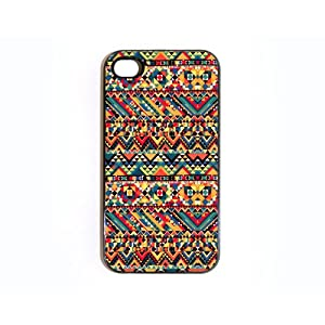 Apple iPhone 4 4G 4S Cute Multi Color Rainbow Aztec Chevron Pattern Vintage WHITE Sides Case Skin Cover Faceplate Protector Accessory Vintage Retro Unique Comes in Case Cartel Packaging