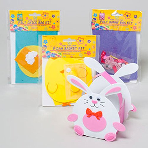 Easter Bag & Basket Craft Kits for Kids (Pack of 4) - Chick & Bunny Designs - Assorted Colors - Felt & Foam Crafts