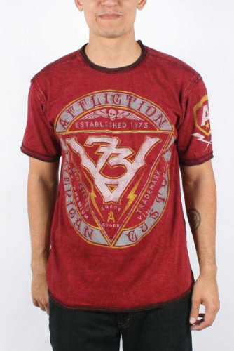 Affliction - Mens Vintage Mfg73 SS Reversible Crewneck T-Shirt In Dirty Red/Black, Size: Small, Color: Dirty Red/Black