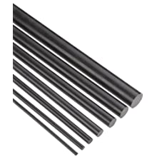 "Acetal Round Rod Sample Pack, Black, Varying Diam, 36"" Length, Pack Of 7"
