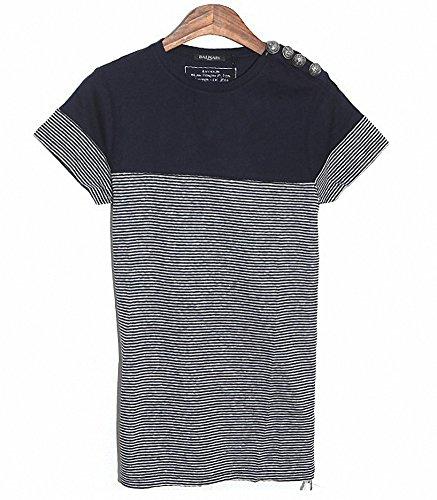 (バルマン) BALMAIN S4HJ652C491 159 半袖 ボーダー Tシャツ ネイビー系 (並行輸入品) RICHJUNE