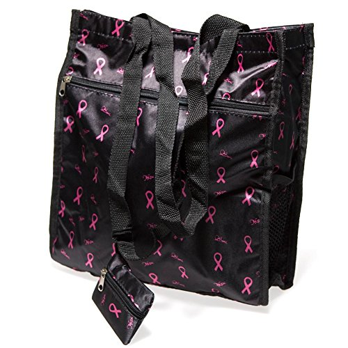 Deluxe Black Pink Ribbon Tote