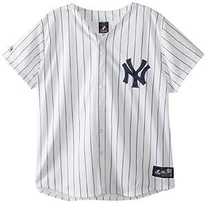 MLB New York Yankees Home Replica Baseball Ladies Jersey, White Navy by Majestic