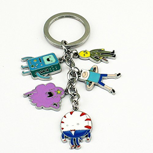 45-newly-adventure-time-anime-characters-5-pendants-keyring-keychain