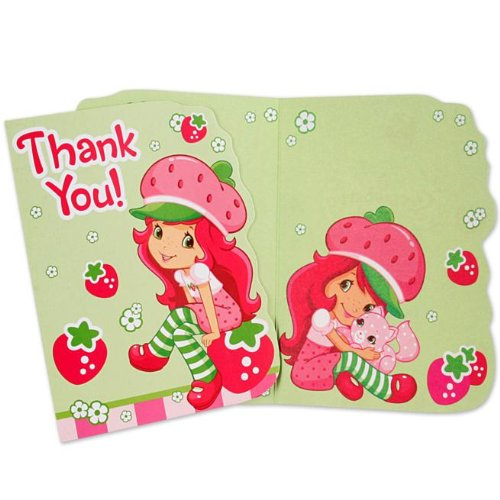 Amscan 236028 Strawberry Shortcake Thank-You Notes - 1