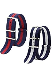 2pc 20mm Nato Ss Nylon Striped Navy blue / White, Navy blue /red Replacement Watch Strap Band