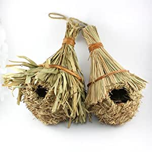Straw woven reed bird house set of two birds nest ideal gift for bird lovers & gardeners FREE POSTAGE
