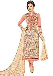pakiza design new gorgeous orange chanderi cotton partywear salwar suit dress material