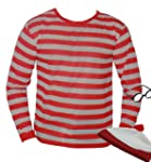 Nerd red white stripe Top T Shirt Lar...