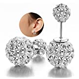 DIB Luxury Fashion Jewelry Double Sided Crystal Balls 925 Sterling Silver Studs Tribal Earrings