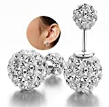 DIB Luxury Hot Sale Double Sided Crystal Pearl Beads 925 Silver Plated Earrings Ear Studs Tribal Earrings