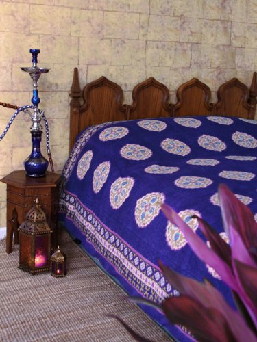 Sultans Palace ~ Purple Blue Moroccan Vintage Twin Bedspread 70X90 front-978497