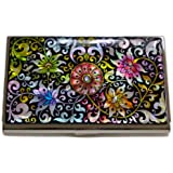 Antique Alive Mother of Pearl Arabesque Flower Design Business Credit Card Holder Wallet (B101)