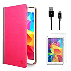VanGoddy Mary Portfolio Multi Purpose Book Style Slim Flip Cover Case for Samsung Galaxy Tab4 T330/T331 8.0 (Pink) + Data Cable + Matte Screen