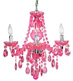 Canarm 88286/4PK The Chandeliers 4-Light Chandelier with Lucite Rose Crystal Stem and Drops, Pink Lucite