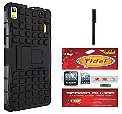 Tidel Hybrid Military Grade Armor Kick Stand Back Cover Case for Lenovo A7000 (Black) With Tidel Screen Guard & Stylus