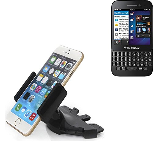Slot CD Smartphone Supporto per Blackberry Q5 | supporto per auto di uso generale per i dispositivi di navigazione / smart phones per il montaggio sullo slot CD dell'autoradio. Il titolare 360 è liberamente regolabile. La pinza è adatto a tutti i telefoni cellulari fino a 90 millimetri di larghezza. CD supporto per auto di slot, slot staffa auto auto di CD, fatto per smartphone, cellulare, navigazione / GPS