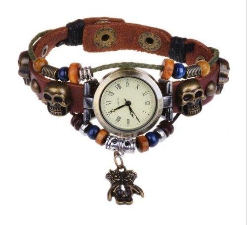 Kano Bak(Tm) Vintage Bronze Skull Hands Retro Wrap Around Weave Woman Lady Unisex Gift Leather Watch Bracelet Wrist Watch
