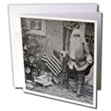 3dRose Patriotic Santa Vintage Christmas Grayscale - Greeting Cards, 6 x 6 inches, set of 12 (gc_6745_2)
