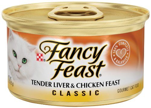 Fancy Feast Gourmet Cat Food, Tender Liver & Chicken Feast, Classic 3-Ounce Cans (Pack of 24)