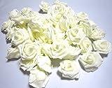 バラ ローズ 造花 花のみ 直径 7cm 50個 セット パーティー 結婚式 披露宴 アイテム 赤 白 紫 (白)