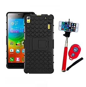 Hard Dual Tough Military Grade Defender Series Bumper back case with Flip Kick Stand for Lenovo A7000 + Wireless Bluetooth Remote Selfie Stick for all Smart phones by carla store.