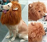 Generic Pet Costume Lion Mane Wig with Ears for Dog Cat Halloween Clothes Fancy Dress up (Light Brown, L)