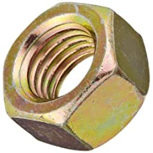 "Steel Hex Nut, Zinc Yellow-Chromate Plated Finish, Grade 8, Right Hand Threads, 1/4""-20 Threads, 0.505"" Width Across Flats, 0.226"" Height (Pack of 100)"