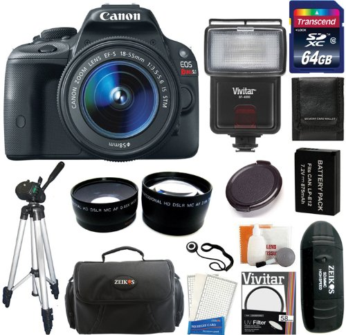 Canon EOS Rebel SL1 Digital SLR Camera with EF-S 18-55mm f/3.5-5.6 IS STM Lens + 64GB Card and Reader + Flash + Extra Battery + Case + Filter + Wide-Angle + Telephoto Lens + Tripod + Accessory Kit Big Discount