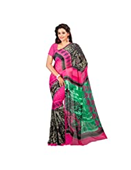 Admyrin Multi Colour Georgette Saree With Pink Blouse Piece - B00VQ6GHMC