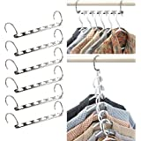 IPOW Wonder Metal Clothes Closet Cascading Hangers Hook, Clothing Organizer Platinum Edition - 6 Pack