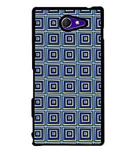 Fuson Premium 2D Back Case Cover Blue Square pattern With Yellow Background Degined For Sony Xperia M2 Dual D2302::Sony Xperia M2