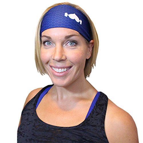 WodBottom Headbands - Athletic sports headband. Lightweight, wicking, unisex. Perfect for Active Men and Women, Athletes, Running, Crossfit, Wods. The best sweat head band - (Navy)