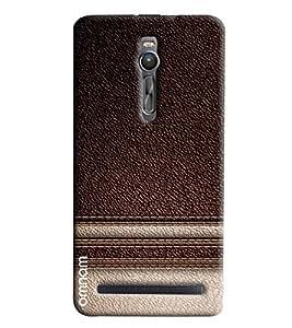 Omnam Brown Leather Pattern Cream Shade Effect Printed Designer Back Cover Case For Asus Zenfone 2 550 KL
