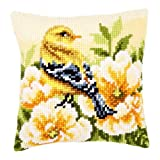 Vervaco Chaffinch on Peonies Cross Stitch Cushion Multi Colour