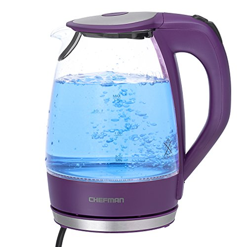 Find Discount Chefman RJ11-17-G-P Cordless Glass Electric Kettle, Purple