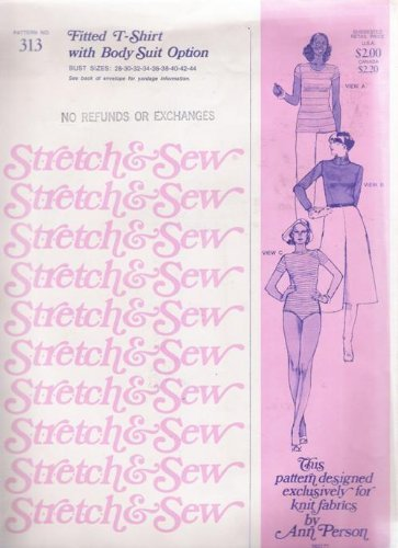 [Stretch & Sew 313 Ladies Fitted T-shirt with Body Suit Option Sewing Pattern Sizes] (Turtles Suit)