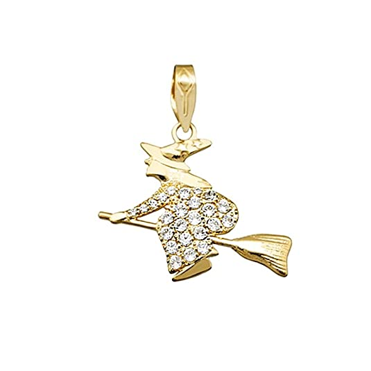 18k gold pendant lucky amulet witch broom zircons [AA4774]