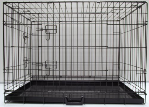 EXTRA EXTRA Large (XXL) BLACK, Fold Down Flat, Dog Cage, Two Door with Metal Tray, Crate, 48