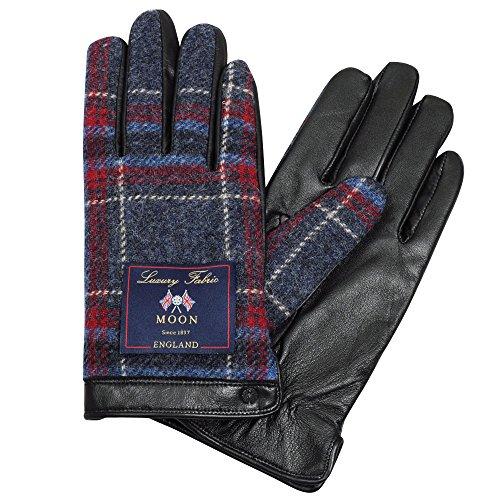 (オジエ) ozie/iTouch Gloves アイタッチグローブ・LEATHER・MOONムーン・ウールxレザー・メンズ〔4701〕タッチパネル式デバイス・スマホ対応手袋・チェック柄・ブルー青xレッド赤 Lサイズ