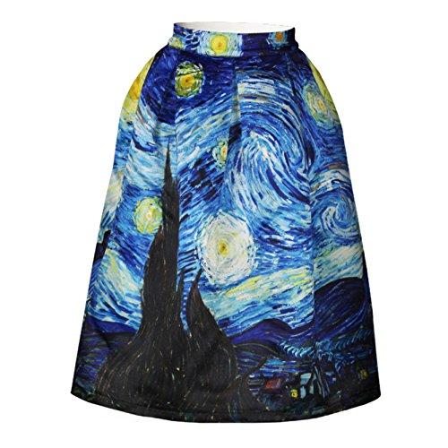 pintura-famosa-vicente-noche-estrellada-cintura-alta-de-rodilla-longitud-falda-mujer
