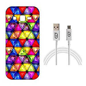 Designer Hard Back Case for Samsung Galaxy On7 with 1.5m Micro USB Cable
