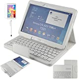 Fenrad® Bianco Layout Bluetooth Tastiera QWERTY Cover Folio litchi grano PU custodia in pelle protettiva per Samsung Galaxy tab 4 10.1 pollici SM-T530 / T531 / T535 con supporto funzioni Leather Custodia Keyboard bluetooth Flip Cavalletto Case/Cover[Tastiera Wireless Staccabile] + Pellicola Salvaschermo + Pennino --White