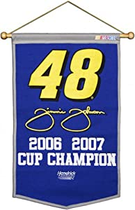 Jimmie Johnson 2 Time Champion Wool Banner by Mounted Memories