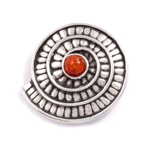 St Justin, Pewter Ammonite Spiral Brooch - Amber