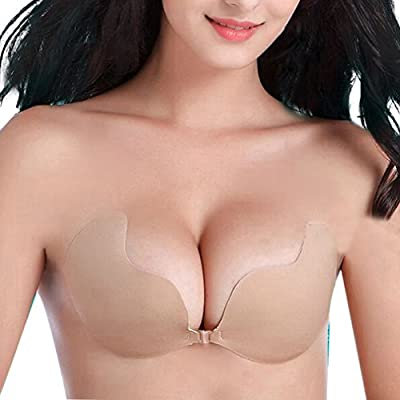 Mysuntown Mango Adhesive Bra Strapless Deep V-shaped Silicone Invisible Push-up Bra